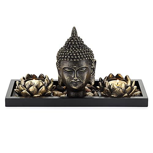SUMTREE - Cabeza de Buda de resina, decoración 2 candelabros candelabros flor de loto soporte para vela con bandeja de madera