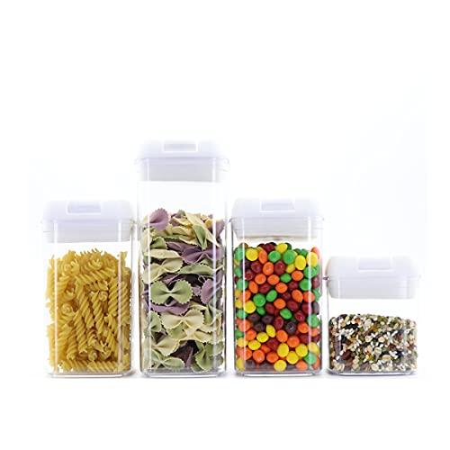 Barattoli per alimenti Contenitori per alimenti, set da 4 pezzi, contenitori per alimenti con coperchio ermetico, contenitori per alimenti in plastica resistente, senza BPA