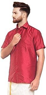 SJS-Men's Half Sleeve Solid Art Silk Shirt (Fire Brick, 36)