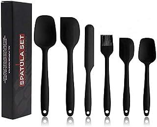 Silicone Spatula Set - 6 Piece Non-Stick Kitchen Spatula Set, Cooking, Baking, And Mixing Heat-Resistant Spatula - Black