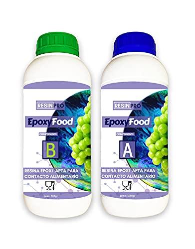 Resin Pro - 1.55 KG Résine Époxy Transparente de Contact Alimentaire - Epoxyfood, Sécurité Alimentaire, Bicomposant, Certifié non Toxique, Créations Artistiques et Revêtement de...