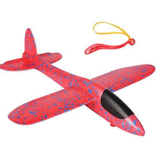 TOOGOO 38 cm EPP Schaum Handwurf Flugzeug Gummiband Auswurf Aussen Launch Segelflugzeug Geschenk Spielzeug für Kinder Kinder Spiel Rot