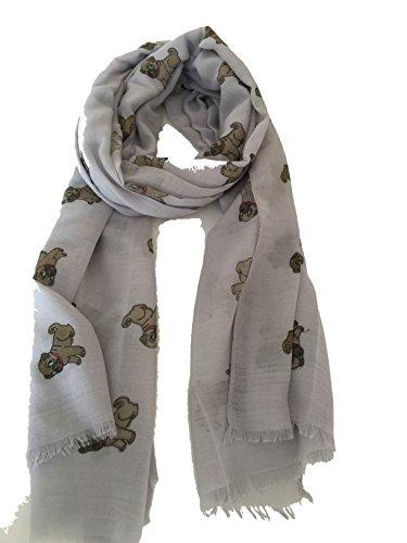 Pamper Yourself Now Süße graue Mops Hunde, langer Schal mit ausgefransten Rand- Cute grey pug dogs, Long scarf with frayed edge