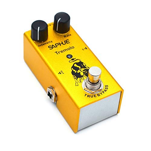 SAPHUE Guitar Tremolo Effects Pedal Intensity/Rate Knob Effect Pedals with Steel Metal Shell Mini Single Type Dc 9V with True Bypass Switch for Multi Electric Guitar Kit