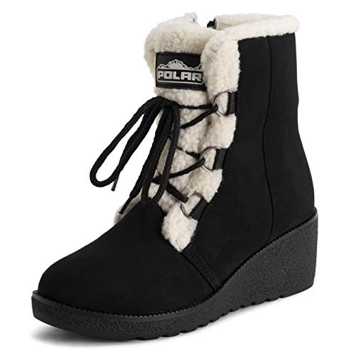 Polar Womens Low Wedge Heel Waterproof Winter Snow Durable Rubber Sole Lace Up Thermal Boots - Black/Beige - EU40/US9 - YC0670