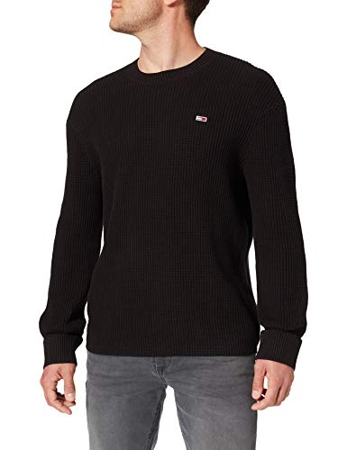 Tommy Jeans Herren TJM HONEYCOMB SWEATER Pullover, Schwarz, Large