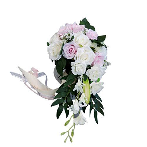Lowral Romantischer Hochzeits-Brautstrauß, Wasserfall-Bouquet, künstliche Rosen mit Schleife