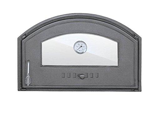 Backofentür Ofentür Pizzaofentür Holzbackofentür Steinbackofentür aus Gusseisen mit Thermometer und Ofenscheibe | Außenmaße: 700x460 mm | Öffnungsrichtung: rechts