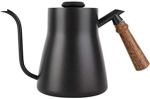 Poeft - Hervidor de cafe (850 ml, con termometro integrado, acero inoxidable, cuello de cisne, cano largo y estrecho, con mango ergonomico de madera aislada