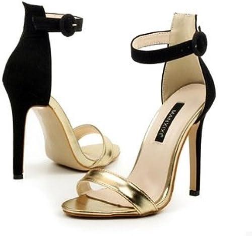 ZHUDJ Très Bien avec Sandales Chaussures à Talons Hauts avec Fine Couleur Sandales