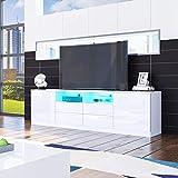 Senvoziii TV Lowboard Fernsehschrank in Hochglanz Weiß TV Schrank mit LED-Beleuchtung Sideboard 2 Türen 4 Schubladen für Wohnzimmer 180 x 35 x 51 cm