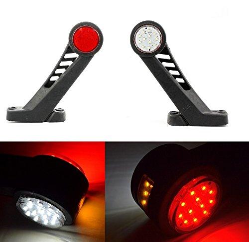 2 x 12/24 V côté Outline Planche d'extrémité LED Rouge Blanc Orange marqueur Feux de remorque Châssis de camion benne