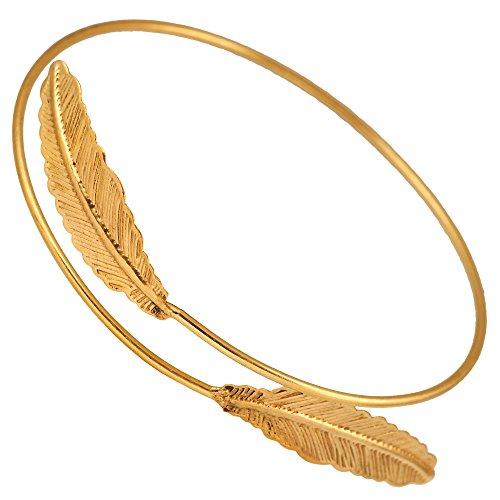 Chic-Net Brass Armreif Oberarm antik golden 90 mm Zwei Federn