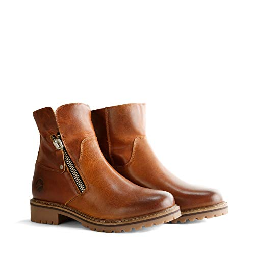 Travelin' Vartae Damen Ankle Boots - aus Leder & 100% Wolle Gefüttert - Cognac EU 39