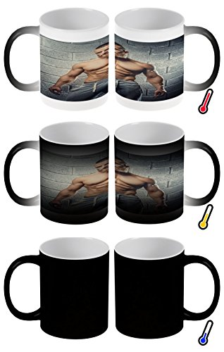 Zaubertasse Farbwechseltasse Kaffeebecher Tasse Becher Latte Cappuccino Espresso Sexy Fun muskel Mann