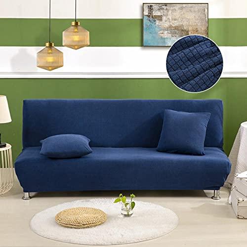 KTISMYRBBGFFSFD Funda de Tela de Forro Polar Impermeable para sofá sin Brazos, Impermeable, tamaño Universal, Fundas elásticas, Protector de sofá, Banco elástico, Azul Marino, tamaño S 120-140cm