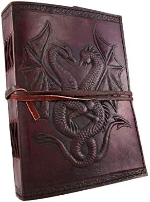 18 cm double dragon Leather Blank Book grimoire leather journal book of shadows spell book leather product image