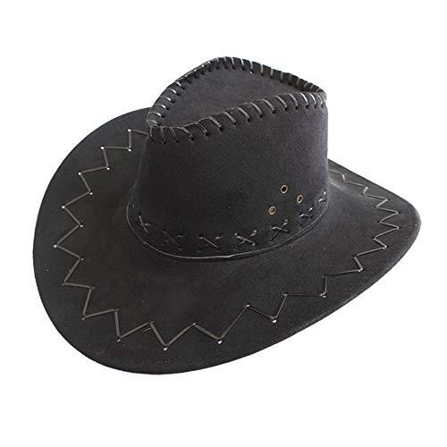 MMD-women's hat La Mode Vache Jazz Knight Chapeau Fedora en Daim Chapeau d'été de Voyage West Montana Voyage Chapeau de Soleil (56-58cm) Doux (Couleur : Noir, Taille : 56-58CM)