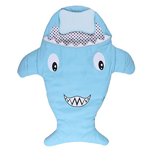 JFJL Säugling Hai-Schlafsack,Baby Niedlich Decke Im Freien Benutzt Kinderwagen Sommer Winter Doppelnutzung,Anti-Treten Neugeborenen Sack Wickeltuch Decke Weich, 88 × 78 cm,Blue