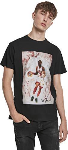 Michael Jordan Herren T-Shirt Playing Basketball Tee mit Gemälde-Print, Black, L