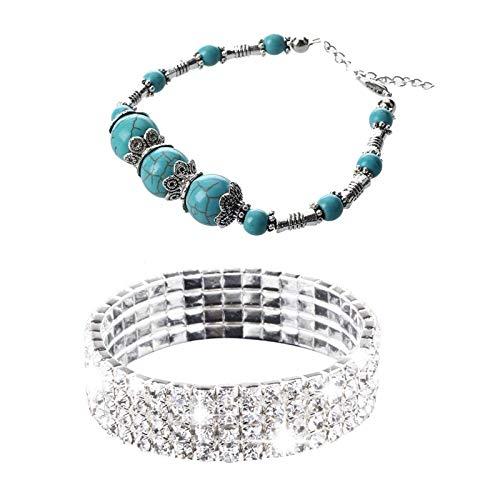 Vrttlkkfe 2 pulseras: 1 pulsera elástica de cristal (4 filas) y 1 pulsera con cierre de mosquetón