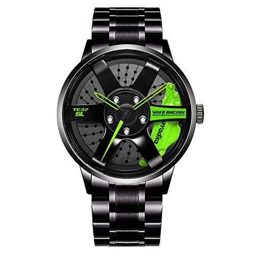 Orologio con mozzo per cerchione per auto, orologio da polso al quarzo in acciaio inossidabile impermeabile con design a ruota, orologio sportivo da uomo, orologio per appassionati di auto (green)