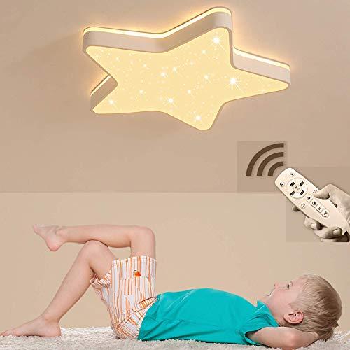 Plafondlamp voor kinder- en slaapkamer, led-plafondlamp, sterrenhemel-decoratie, plafondlamp met 5 sterren, geïntegreerde led-tips, 48 W, 4800 lm, dimbaar, met afstandsbediening Ø60 cm