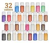 DEWEL Epoxidharz Farbe 32er×5g, Metallic Farbe Resin Farbe Seifenfarbe Set Pigment, Mica Pulver...