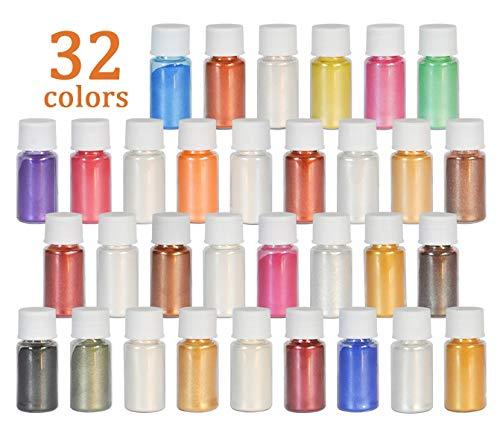 DEWEL Epoxidharz Farbe 32er×5g, Metallic Farbe Resin Farbe Seifenfarbe Set Pigment, Mica Pulver Powder für Seife Epoxy Epoxydharz Kunstharz Gießharz