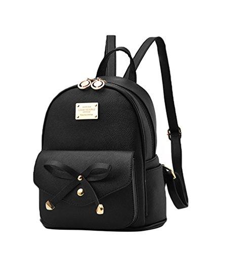Baymate Damen Vintage PU Leder Rucksack Schultasche Daypacks Outdoor Umhängetasch Schwarz