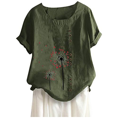 ELECTRI Haut décontracté pour Femme Tunique Manche Courte Coton et Lin T Shirts Les Loisirs Chemisiers Linge de Maison Tops Col Rond Tops