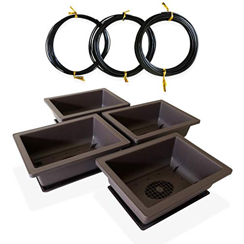 Saida 6-Inch Bonsai Pots with Trays Comes with 1mm, 1.5mm and 2mm Aluminum Wires, Bonsai Tree Pot with Drainage Mesh and Humidity Tray in Black Shatterproof Poly-Resin Plastic (4 Pack)