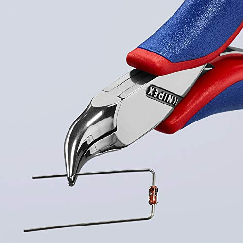 KNIPEX Tools - Electronics Pliers, Half Round Tips, 4.5 Degree Angled, Multi-Component (3542115)