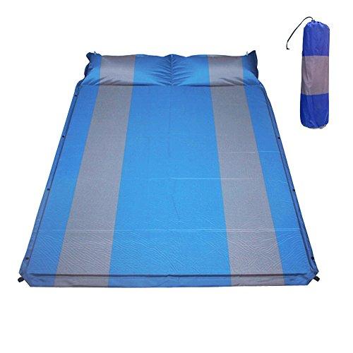 ダブルキャンピングマット エアーマット キャンプマット エアマット ブルーxグレー 全3色 インフレータブル式 厚さ2.5cm 連結可能 収納袋付き [並行輸入品]