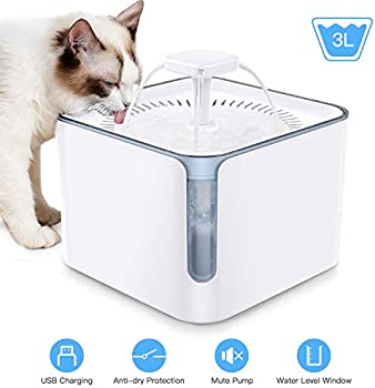 Nemobub 100oz/3L Automatic Pet Water Fountain with 3 Replacement Filters