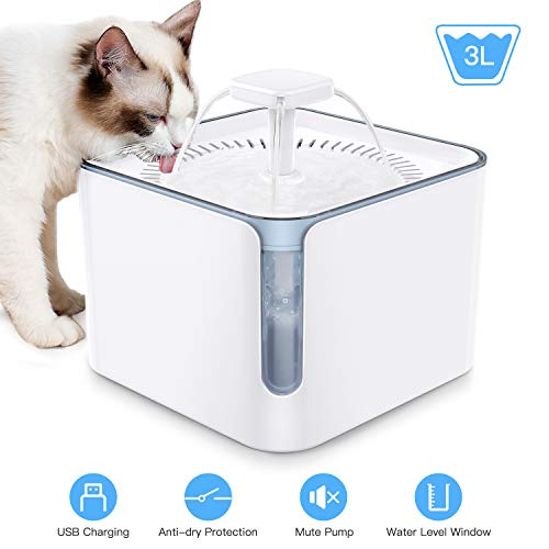 Nemobub Cat Water Fountain 3L Automatic Pet Water Fountain Ultra-Silent Pump Dog Water Dispenser with Water Window Auto Power-Off Super Quiet Pet Water Dispenser for Cats, Dogs (Water Fountain)