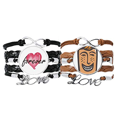 Bestchong Laugh Abstract Face Sketch Smail Pulsera de mano correa de cuero para siempre Love Wristband Set doble