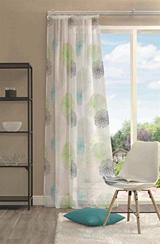 Home Wohnideen Rideau à cordon en voile imprimé côtés et finition ourlée 100 % polyester Vert 145 x 140 cm