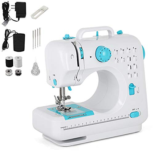 Mini Sewing Machine Portable Electric Small Household Sewing Handheld Tool with Foot Pedal 12 Built-in Stitches 2 Speeds LED Light Overlock Function for Amateurs Beginners Embroidery - Blue