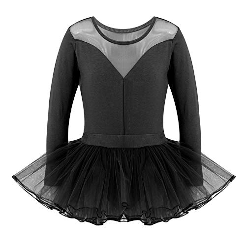 iixpin Vestido de Danza Ballet Manga Larga para Nia Maillot de Gimnasia Rtmica con Falda Tul Leotardo Elstico de Baile Disfraz de Bailarina Negro 10 aos