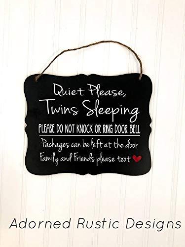 Ced454sy Quiet gelieve tweeling slapen niet kloppen of ring deur bel pakketten kunnen worden achtergelaten aan de deur Voordeur outdoor houten bord voor opknoping
