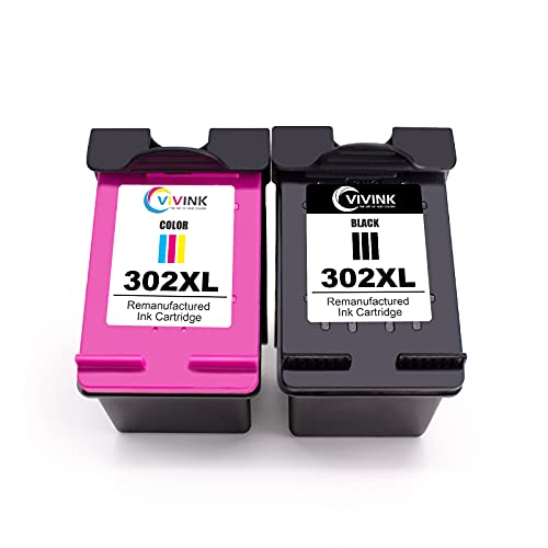 VIVINK 302xl - Cartucho de tinta remanufacturado para 302 302 XL compatible con HP DeskJet 1110/2130/3630, HP Envy 4520,451X, HP OfficeJet 3830/3831/4650 (2 unidades)