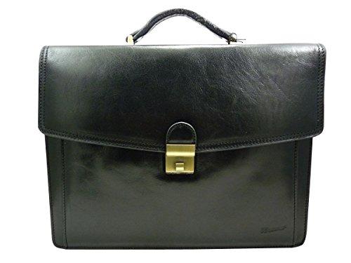 Footsmaro - Borsa a cartella da uomo, in pelle, 3 soffietti, colore: Nero
