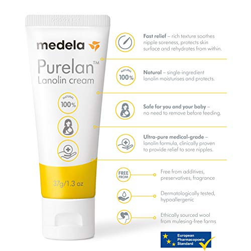 Medela Lanolin Nipple Cream for Breastfeeding, 100% All Natural Single Ingredient, New Purelan, 1.3 Ounce