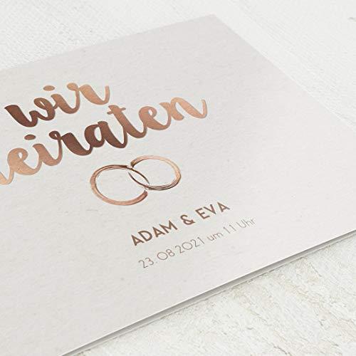 sendmoments Einladungskarten Hochzeit, Ringe, 5er Klappkarten-Set C6, personalisiert mit Wunschtext & persönlichen Bildern, optional mit passenden Design-Umschlägen