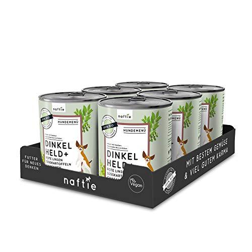 naftie veganes Hundefutter Bio Dinkel Held+ | Nassfutter Menü mit Dinkelflocken, Süsskartoffeln & Chiasamen | rein pflanzliche Zutaten | Sparpaket 6 x 800g Dosen