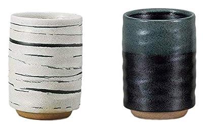 Japanese Sushi Yunomi Tea cups, 13.5 fl. oz., Authentic Mino Ware, Kurosuisho,Yukishino for Hot Green Tea, Matcha tea, Bancha Set of 2 from Japan