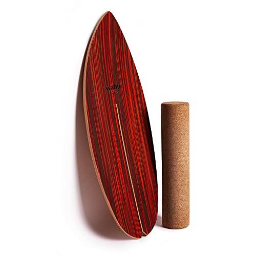 WAHU Board - Balance Board mit einzigartigem Rocker Shape inkl. Rolle - Surf Balance Board (100{7a7bc8727f1cb48d53abef3a32483746f6142e8f9670aa065aeb9fc3d0e4b699} Holz) - Balance Board Indoor und Outdoor - 100{7a7bc8727f1cb48d53abef3a32483746f6142e8f9670aa065aeb9fc3d0e4b699} Spaß garantiert