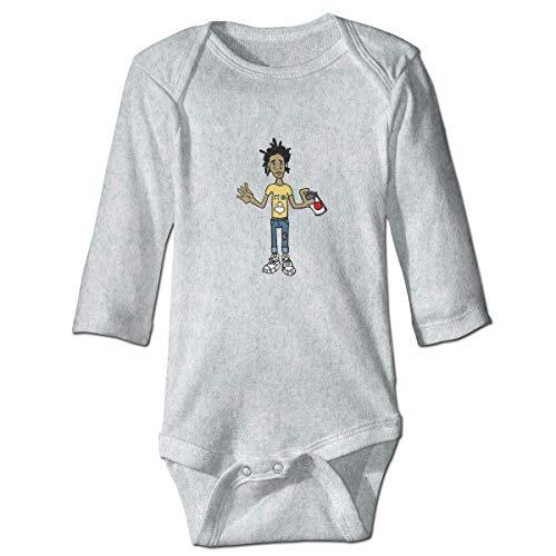 WlQshop - Body unisex Jean Michel Basquiat, a maniche lunghe, in cotone grigio 2 Anni
