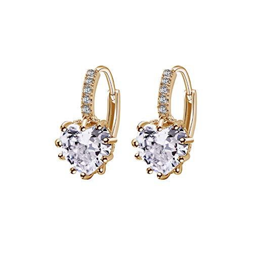 FANKUNYIZHOUSHI - Pendientes en Forma de corazón con circonitas y Diamantes de imitación, hipoalergénicos, chapados en Oro